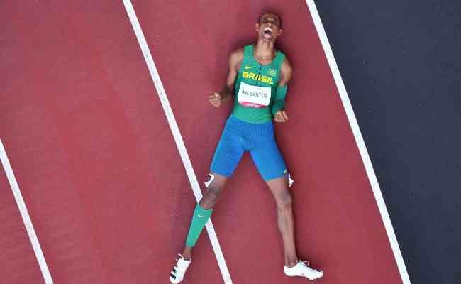 Alison dos Santos terminou em terceiro lugar nos 400m com barreiras